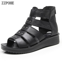 ZZPOHE 2018 Summer new mother Sandals Soft elderly Leather Sandals non slip comfortable pregnant Women Shoes Plus size 35 41