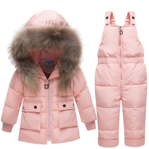Image 3 - Autumn Winter Jacket Kids For Boys Gilrs Children New Year Down Jackets Overall Hooded Snowsuits Fur Parka Coat Pant Set Outwear