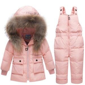 Image 3 - Veste pour enfants, automne hiver, vestes en duvet, Parka en fourrure, ensemble pantalon, nouvel an