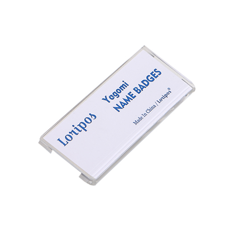 Pin-on Acrylic Holder For ID Card, identification name plate ID card tag safety pins plastic conference name badge pin on holder