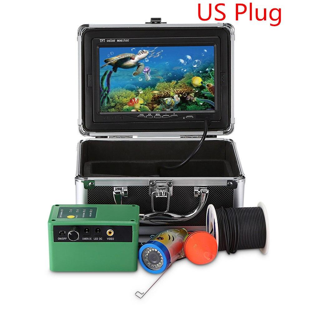 7,0 дюймов 15 м 1000TVL подводный рыболокатор рыболовная камера 15 шт белые светодиоды+ 15 шт инфракрасная лампа рыболокатор IP68 водонепроницаемый - Цвет: US PLUG  2 PIN