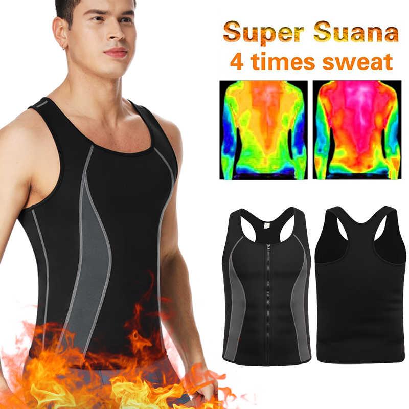 Для мужчин неопрена тренировки на молнии без молнии топы потеть сауна костюмы тренажер для талии утягивающий горячее тело Shaper Thermo форма для гимнастики черный