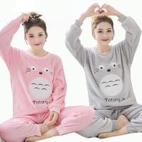 Autumn Winter Women Flannel Sleepwear Cartoon Totoro Pajamas Pyjama Set Thick Warm Nightwear Lovely Girl Home Wear M L XL XXL