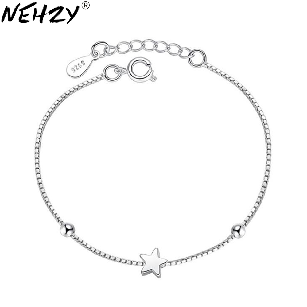 NEHZY 925 sterling silver new woman Luxury brand bracelet handmade jewelry chain five-pointed star fashion simple cube 16.5+3CM