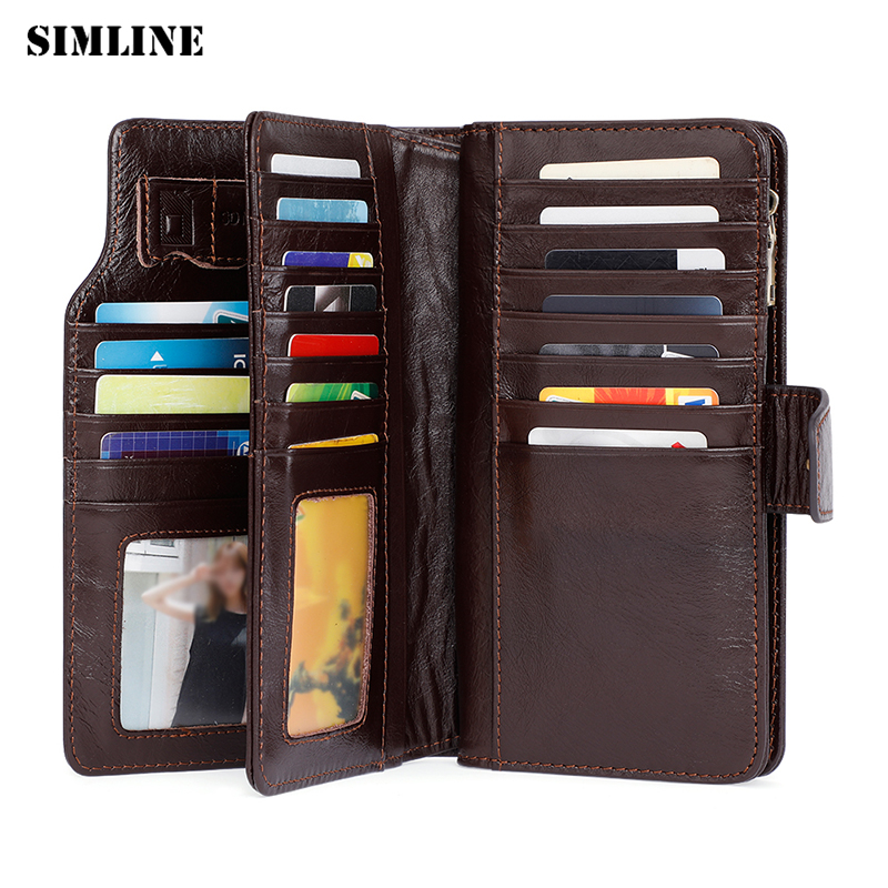SIMLINE Brand Design Genuine Leather Women Wallet Female Long Clutch Wallets Bag High Capacity Zipper Phone Pocket Purse Lady cossroll brand women wallets genuine leather long thin purse clutches bags cards holder zipper phone pocket lady party wallet