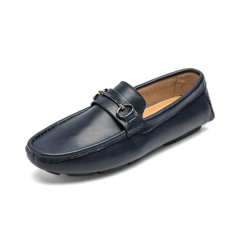 Hommes Cuir Véritable Mocassins Conduite blue Designer Marque orange Italien Jkpudun Chaussures De En Luxe Casual Respirant Black Formelles qt8pnw