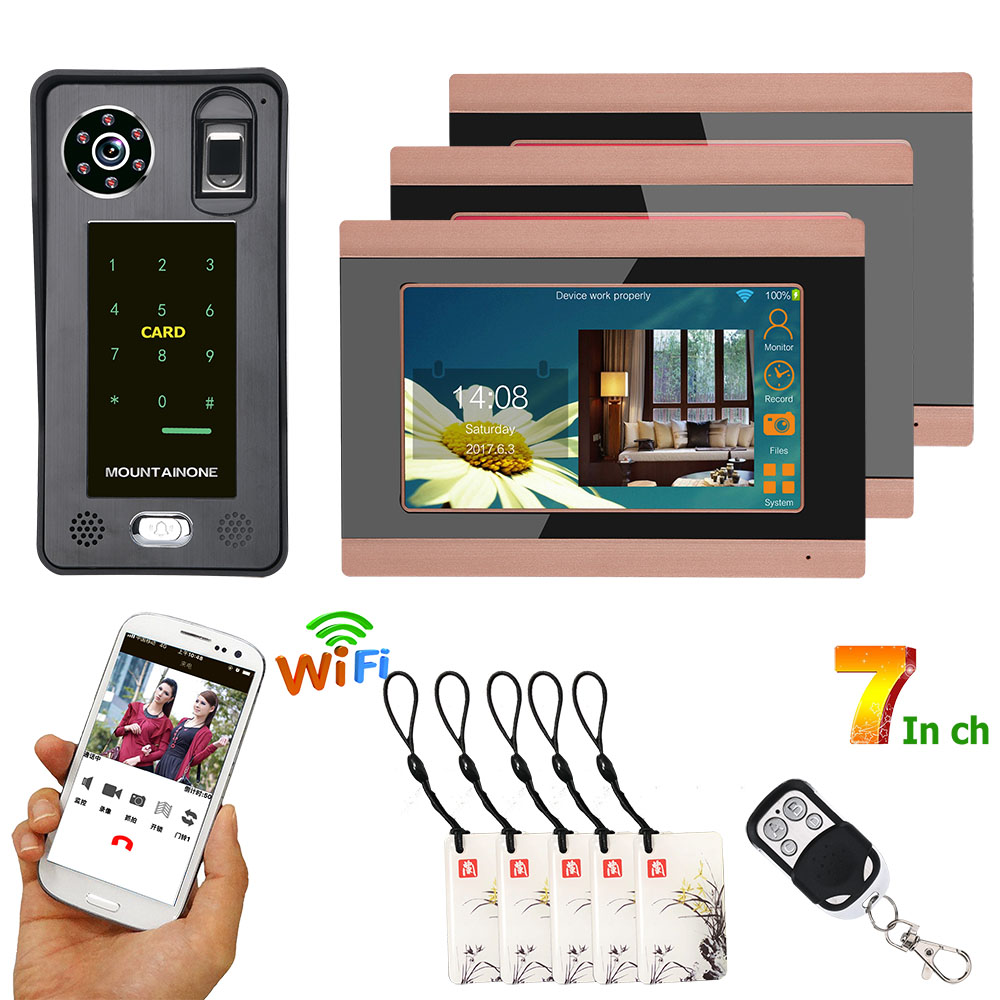 3 Monitors 7inch Wired Wifi Fingerprint IC Card  Video Door Phone Doorbell Intercom System With Door Access Control System,Suppo