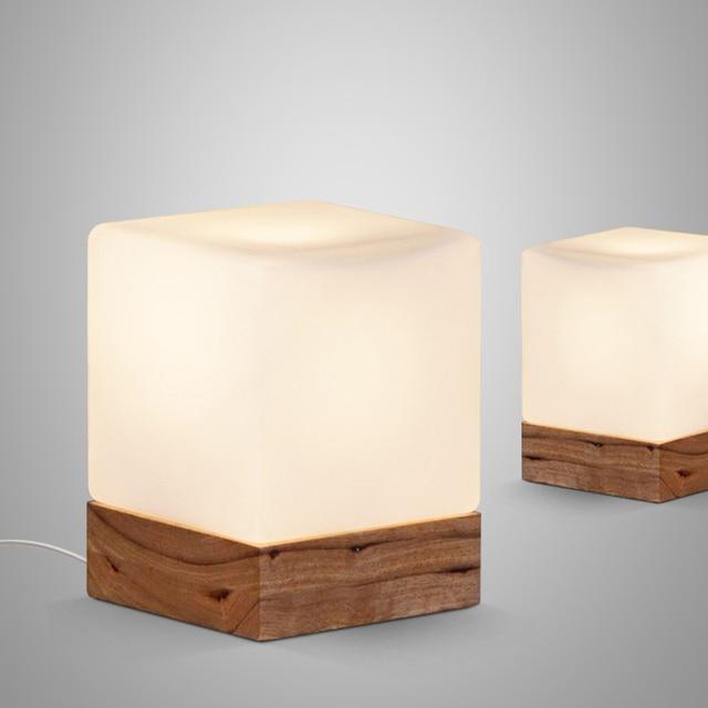 Cubi Table Lamp Cubic Frosted Glass Shade Oak Wood Base Desk Light Modern  Nordic Minimalism Design