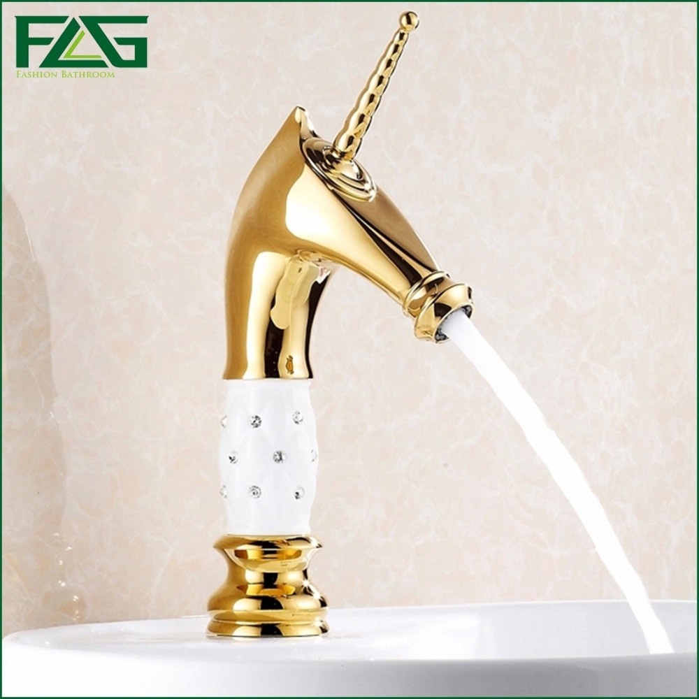 ФОТО FLG Special White Painting Gold Plated Wholesale Classical Style Horse Shape Brass Water Faucet TapTorneira Misturadora M085