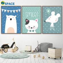 Cartoon Bear Cat Mouse Wall Art Canvas Painting Nordic Posters And Prints Nursery Art Wall Pictures For Baby Girl Boy Room Decor baby girl room decor nordic cartoon pictures for kids room posters and prints nursery simple quote cat wall art canvas painting