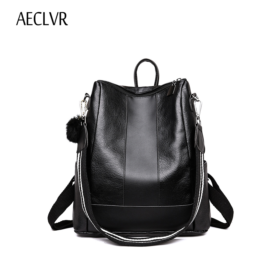 Aeclvr Fashion Pu Leather Backpacks For Teenager Girls Zipper Backpacks Female Backpacks To School Notebooks Laptop Travel Bags