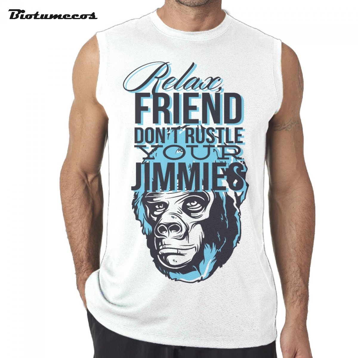 Men Tank Tops Fashion Brand Sleeveless T shirts Relax Friend Dont Rustle Your Jimmies Ape Man Printed Undershirts MWD030