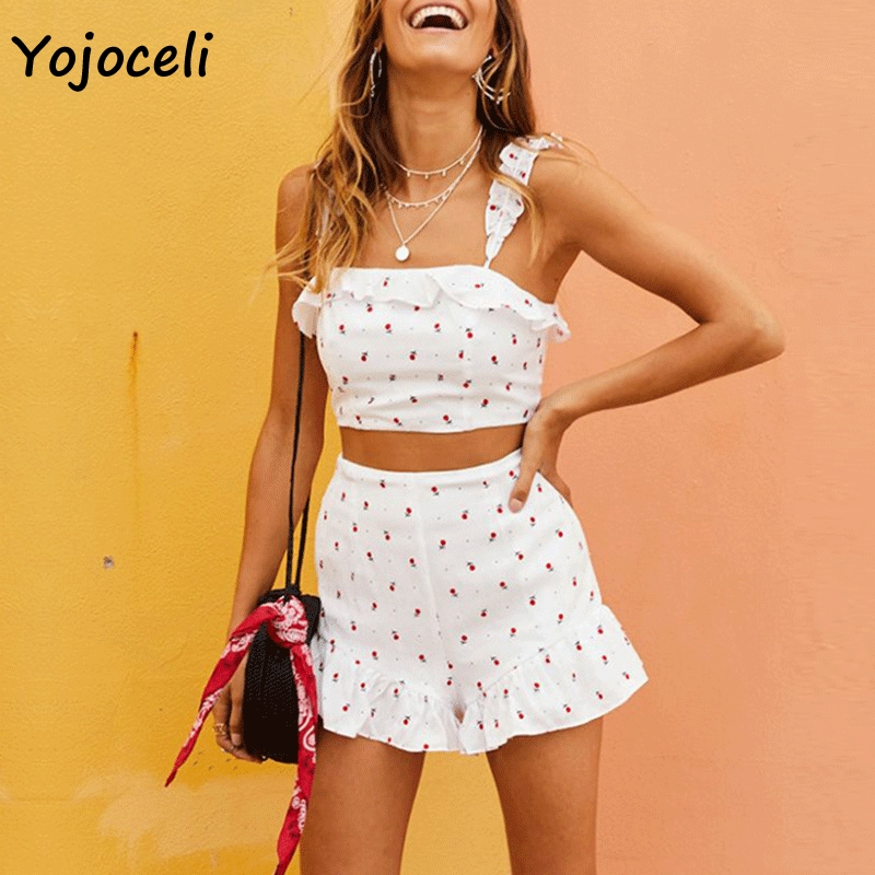 Yojoceli new spring summer print   jumpsuit   rompers women two pieces set playsuit boho beach rompers women