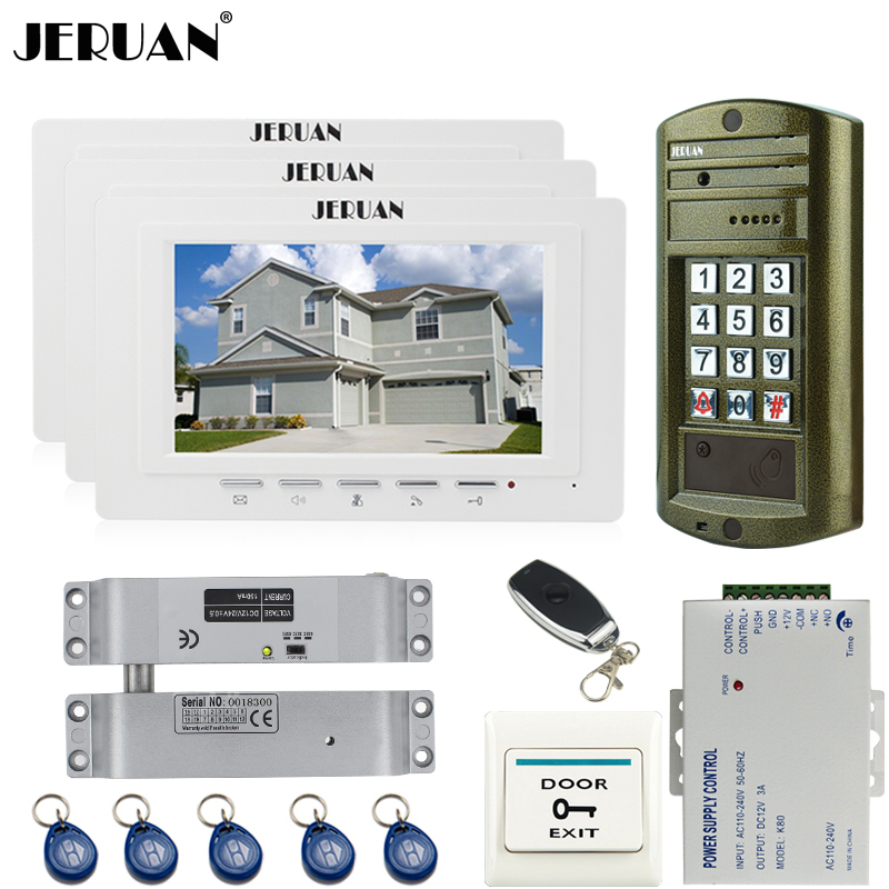 JERUAN Home 7`` Video Door Phone Intercom system kit +3 Monitor + NEW Metal waterproof Access password keypad HD Mini Camera 1V3 jeruan home 7 inch video door phone intercom system kit new metal waterproof access password keypad hd mini camera 2 monitor