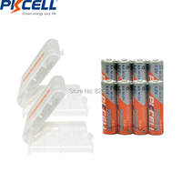 8Pcs PKCELL NIZN 1 6V 2500MWH AA Rechargeable Battery 2A Batteries And 2Pcs Battery Hold Case