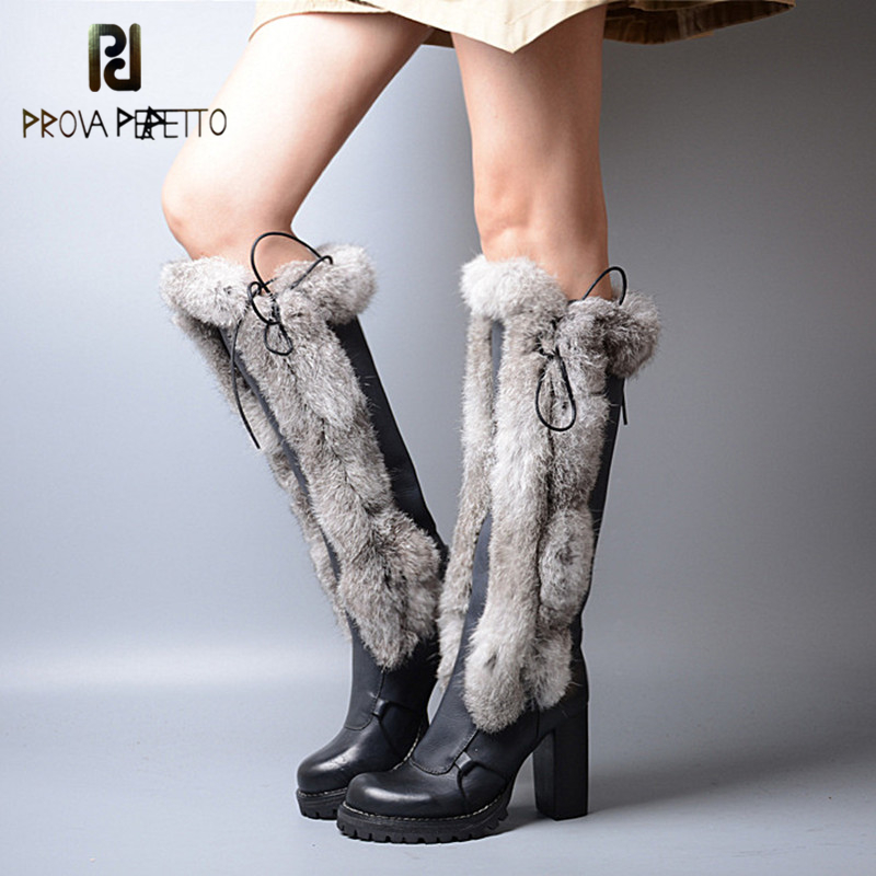 где купить Prova Perfetto New Arrival Warm Rabbit Fur Patchwork Women Knee High Boots Real Leather Round Toe Super High Heels Knight Boots по лучшей цене