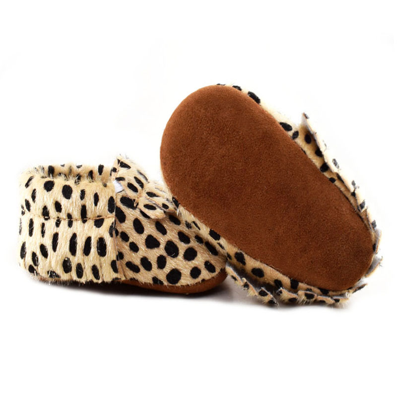 2019 New Born Shoes Fur Polka Dot Suede Sole Shoes Leopard Baby Boots Toddler Baby Moccasins Lace-up Baby Booties Scarpe Bimba