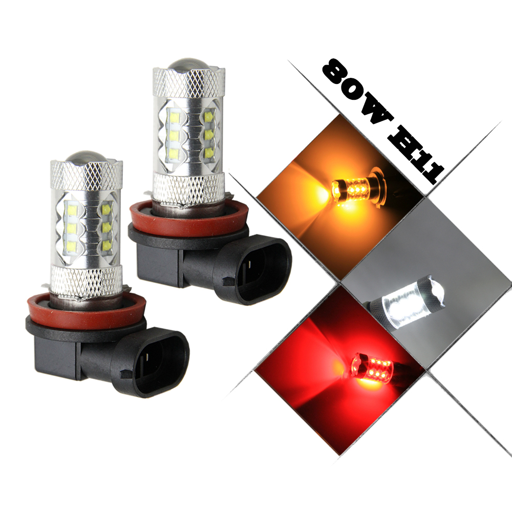 Pack of 2 Car Auto H11 H8 Size DRL Fog Light LED 80W 6000k Super Bright White Projection Bulb LED parking Headlight 5 pack of disposable lighters pack of 3 sets