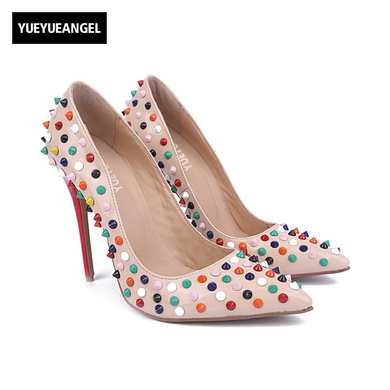 New Arrival Cute Women Shoes Slip On Pointed Toe Multicolor Rivet Decoration Fashion For Women Paty Cosplay High Heel Shoes Pink new arrival women sky blue high heel slip on sexy stilettos white cloud decoration cute bride shoes wedding women stilettos pump