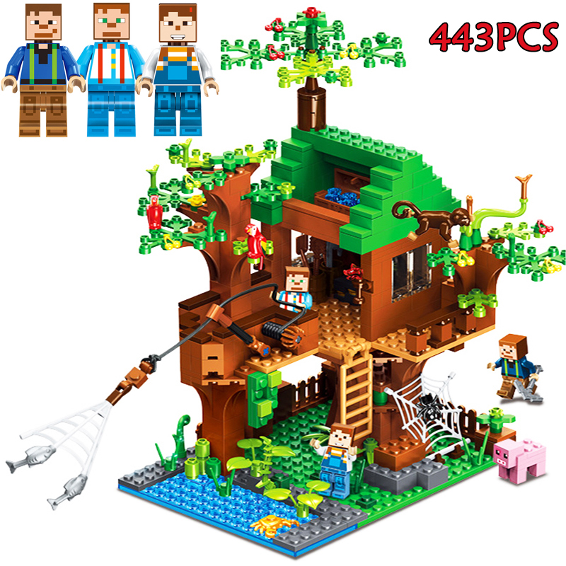 443 pcs Model Building Blocks Set Compatible Legoes My World Fish Island Minecrafted Brick Action Figure Toys Gifts For Children new gundam action figure model diamond building blocks loz 15cm 6 pcs set toys for children 9