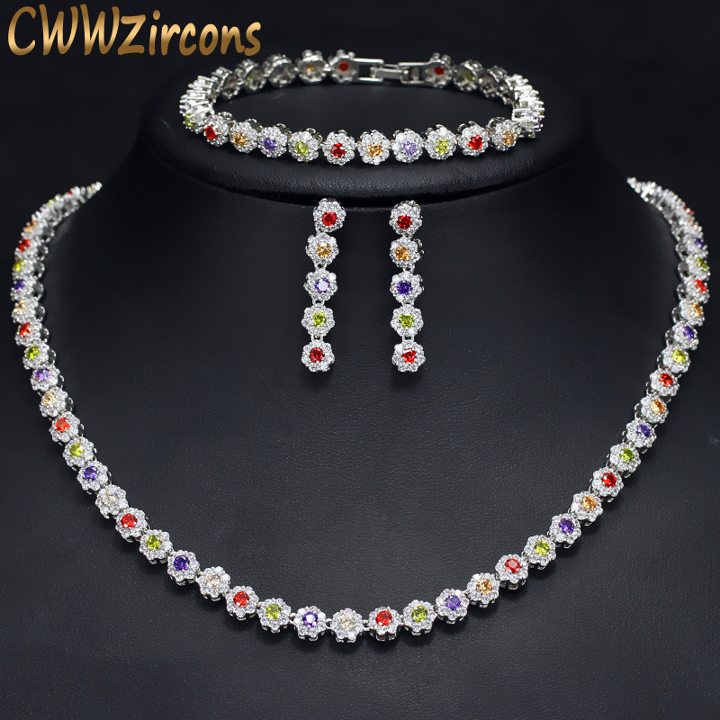 CWWZircons High Quality Sparkling MultiColored Red Green Purple Cubic Zirconia Ladies Wedding Jewelry Sets For Brides T246CWWZircons High Quality Sparkling MultiColored Red Green Purple Cubic Zirconia Ladies Wedding Jewelry Sets For Brides T246
