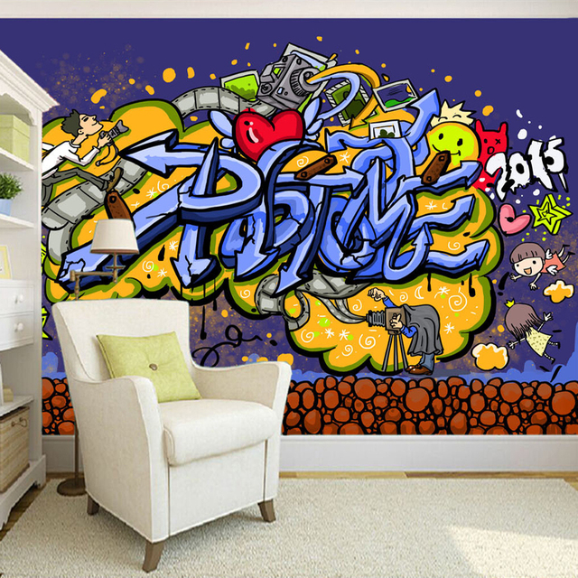 Custom 3d mural wallpaper modern abstract graffiti art for 3d mural painting tutorial