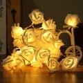 20 Rosas de Colores Flor de Hadas del LED No Impermeable LED Cadena Luces Con Pilas de la Fiesta de Navidad Al Aire Libre Decoración de La Boda