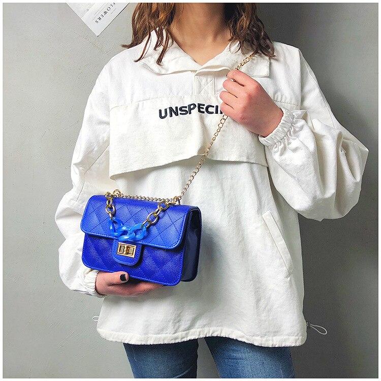 Luxury Women Classic handbag Designer Pink Blue Gradient PU Leather Lingge Shoulder Bag (17)