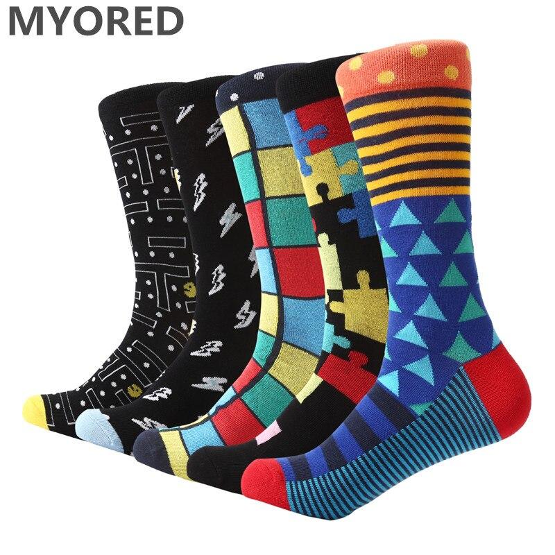 MYORED 5 pair/lot Men's colorful contrast crew   socks   bright mixed stripe long   socks   big size business dress   socks   wedding gift