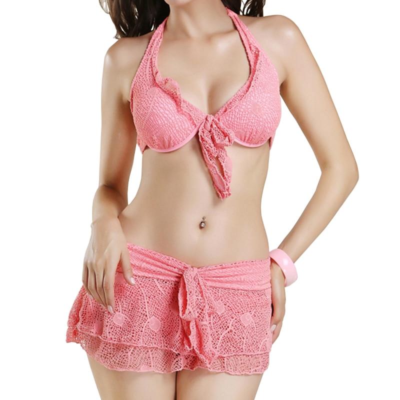 Sport Swimwear pink lace Women Three Pieces Bikini Set Female Skirts Swimsuit 2017 Sexy Junior senior Girl Skirt Bathing Suit