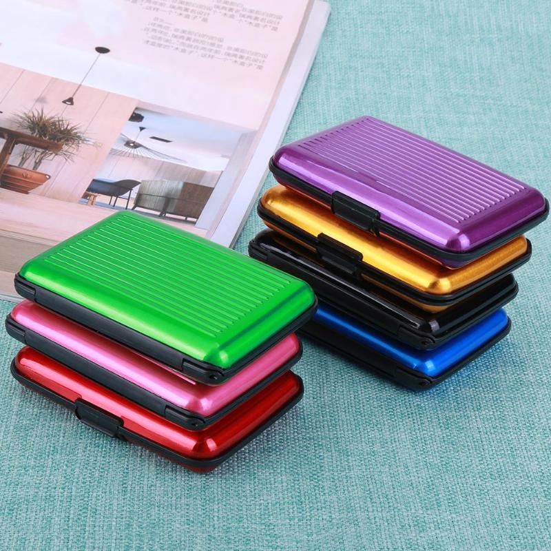 Mini Metal Business Name Card Case ID Credit Card Holder Bank Card Holder  Waterproof Business Cards Organizer Office Supplies-in Card Holder  Note