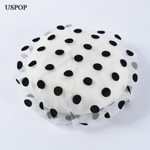USPOP 2019 New spring hat polka dot yarn beret women breathable cotton berets female vintage