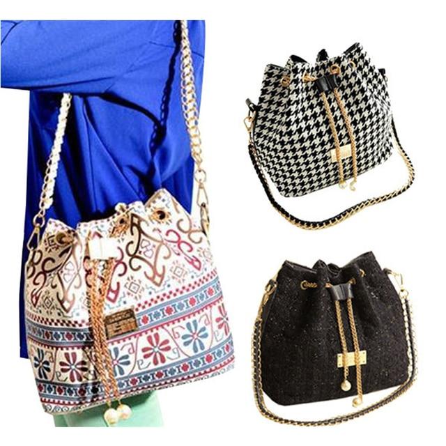 Bohemia Canvas Drawstring Lady Bucket Bag 2017 New Chains Shoulder Handbags Women's Vintage Messenger Bags Bolsa Feminina Bolsos