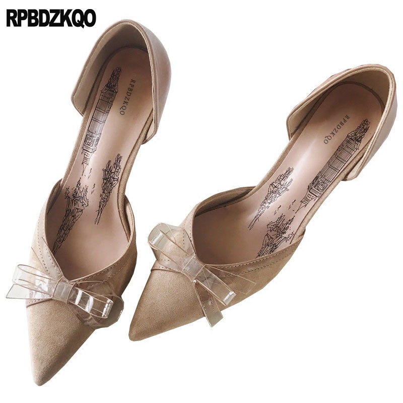 Dorsay Stiletto Party Shoes For Women Clear Cute Sandals Pointed Toe Pink Bow Suede High Heels Nude 2018 Transparent 8cm PumpsDorsay Stiletto Party Shoes For Women Clear Cute Sandals Pointed Toe Pink Bow Suede High Heels Nude 2018 Transparent 8cm Pumps
