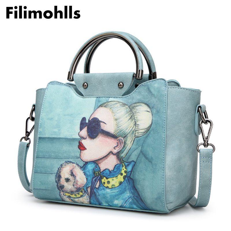 Женские сумки на плечо с мультяшным принтом, женские сумки-мессенджеры, брендовые дизайнерские сумки через плечо, женские сумки, F-88