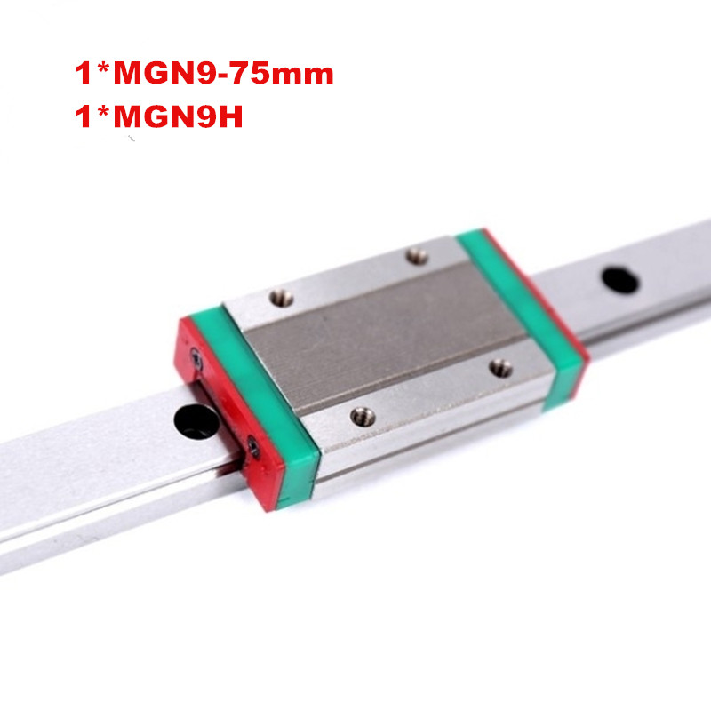 free shipping 3d printer linear guide 9mm linear guide block MGN9H 1pc + rail MGN9 L =75mm 1pc for CNC X Y Z Axis  linear guide