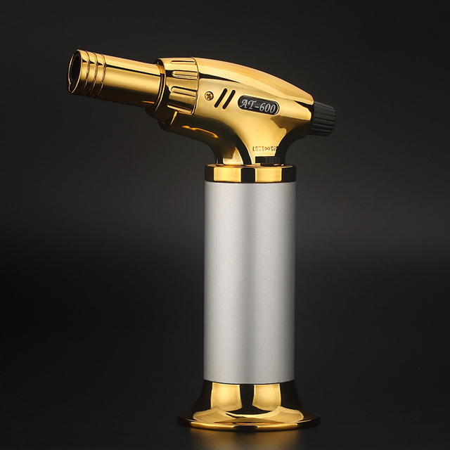 Outdoor BBQ Lighter Cigar Torch Turbo Lighter Jet Butane Gas 1300 C Spray Gun Windproof Metal Pipe Lighter Kitchen No Gas