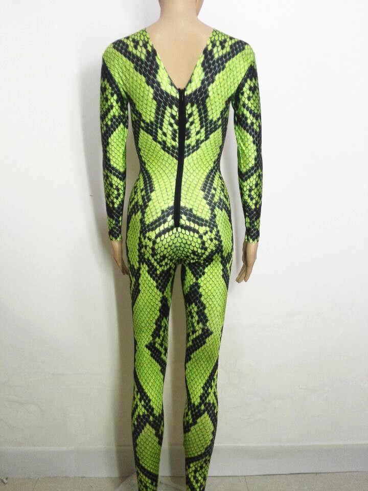 Зеленый Змеиный комбинезон с 3D принтом, сексуальный эластичный комбинезон для выпускного вечера, вечерние комбинезоны для Хэллоуина, карнавальный костюм, комбинезон для выступлений певицы