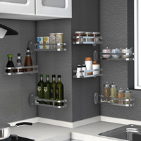 304 Stainless Steel Kitchen Rack Shelf DIY Folding Wall Multifunction Racks Storage Tableware Shelves Cooking Tools Holder