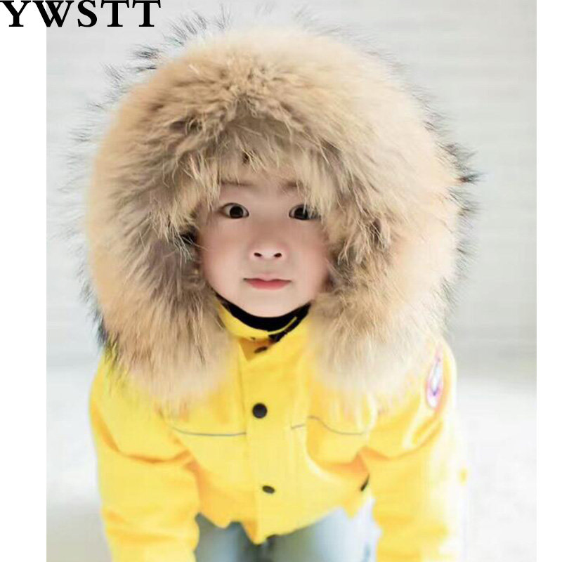 Children's Candy Color Warm Down Jacket 2018 Winter Down Jacket Parka For Girls Boys Coats Girls Big Nature Fur Hoodie winter men jacket new brand high quality candy color warmth mens jackets and coats thick parka men outwear xxxl