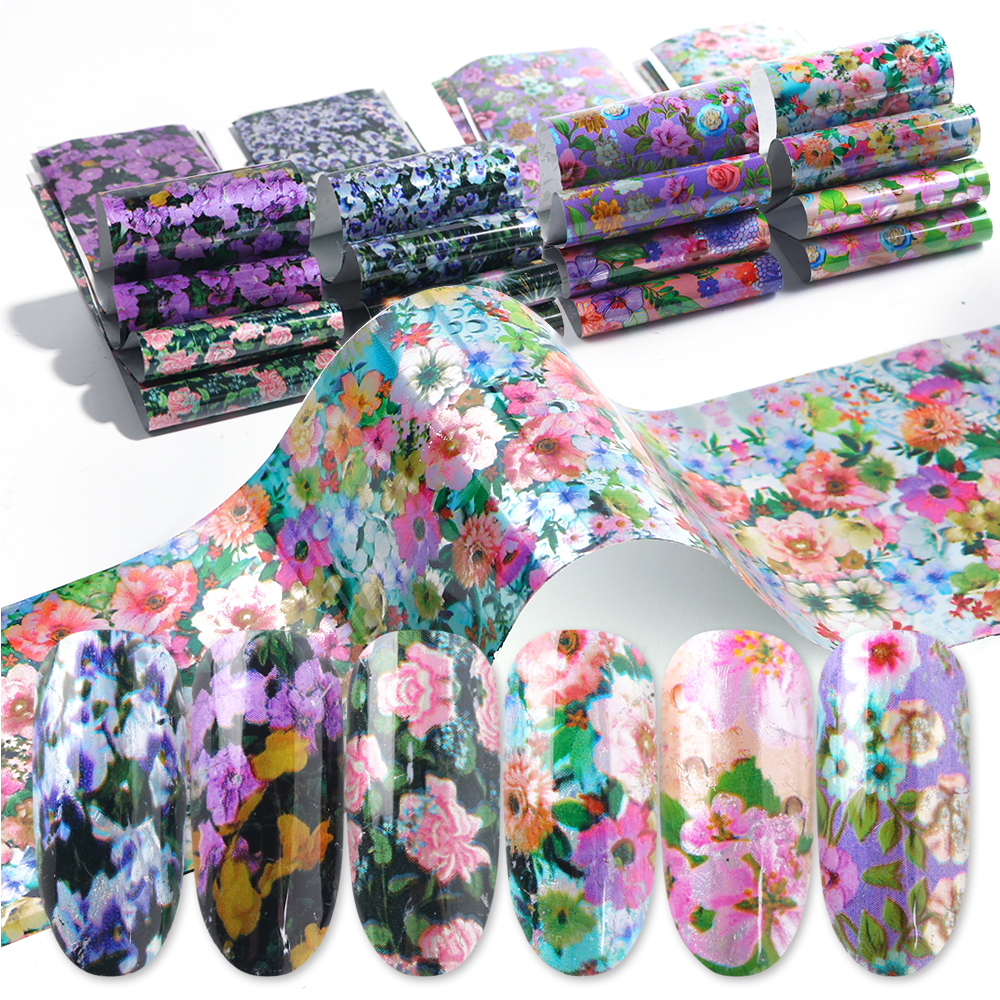 16 Designs Flower Stickers for Nails Blossom Transfer Foil Set Floral Decals Slider Mixed Starry Paper Nail Art Decoration BE795-in Stickers & Decals from Beauty & Health