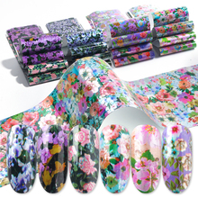 16 Designs Flower Stickers for Nails Blossom Transfer Foil Set Floral Decals Slider Mixed Starry Paper Nail Art Decoration BE795