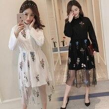 9197 новое платье-рубашка с вышивкой для беременных женщин Весна