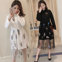 9197 New pregnant women's embroidered gauze shirt dress in Spring 2018