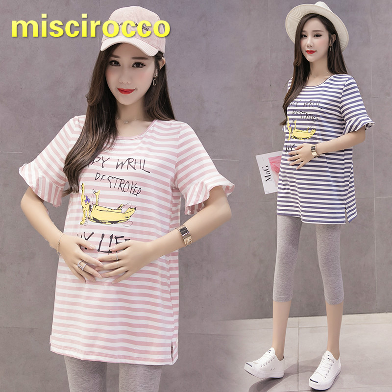 Maternity Clothes Summer Tees Women T Shirt Stripe Top Flounce Short Sleeve T-shirt Pregnant Clothes Printing Top(China)
