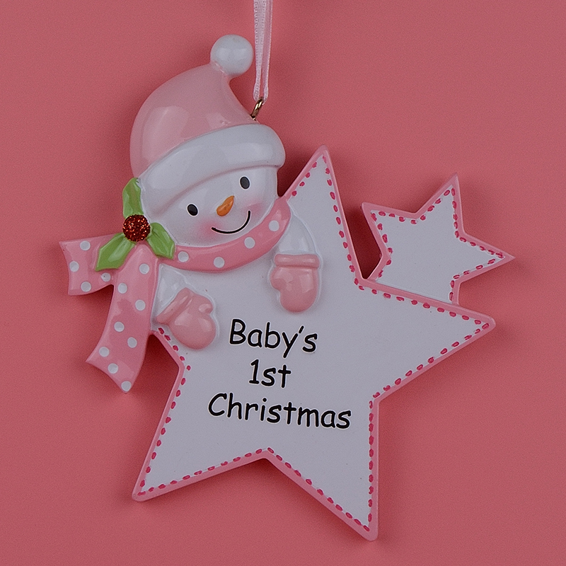 Natal Baby First Regali personalizzati Pink Girl Star Lucido Polyresin Personalized Christmas Tree Ornaments