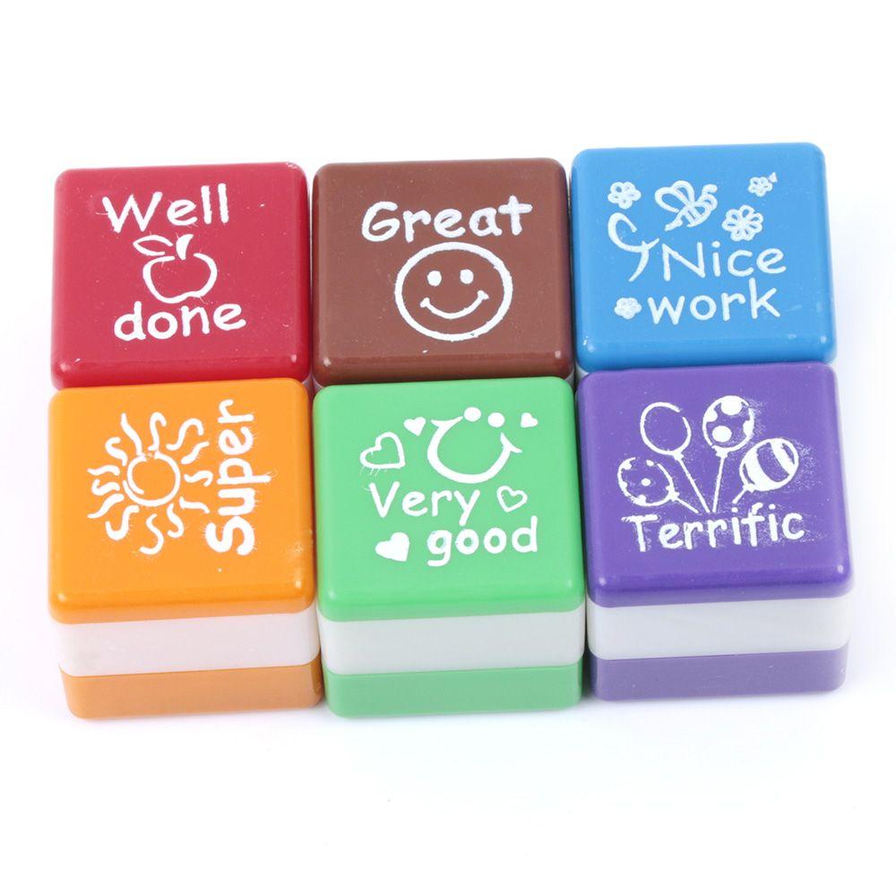 Cute Cartoon Kids Stamp Set Motivation Sticker School Scrapbooking Stamp DIY Teachers Self Inking Praise Stationery Set