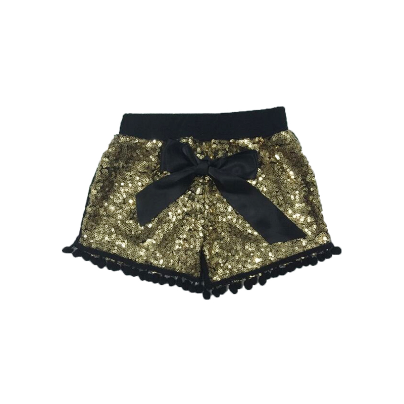 Black Gold Sequin Shorts Toddler Infant Sequin Pom Pom Short Baby Girls Birthday Party Outfit Shorties Pant with Satin Bow