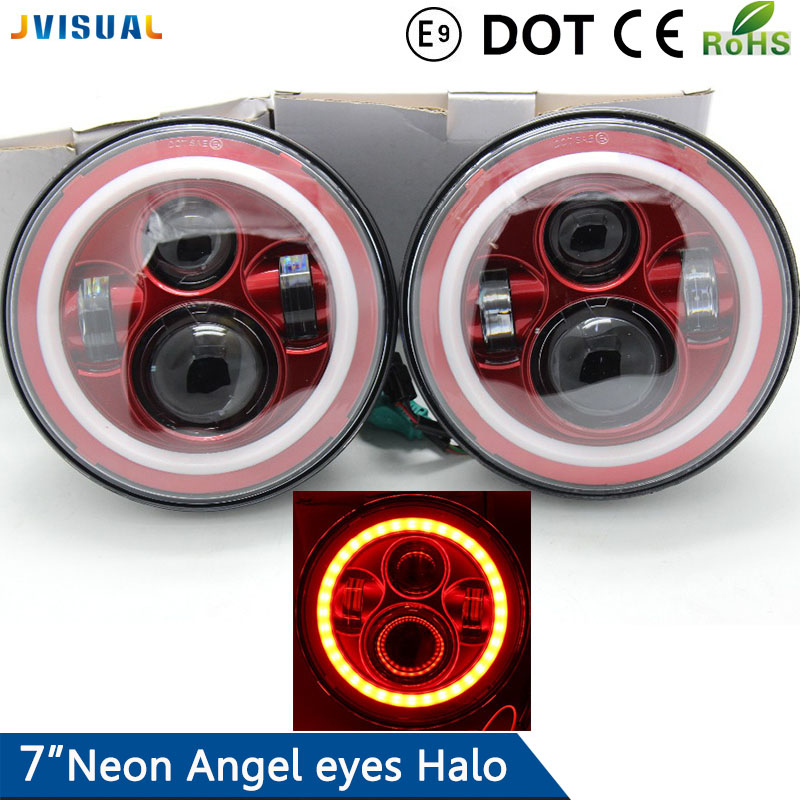 7'' Round With Halo Led Headlight H4 High Low 6000K 7Inch Led Motor Light for Jeep Harley Lada Niva Toyota UAZ 4x4 Offroad