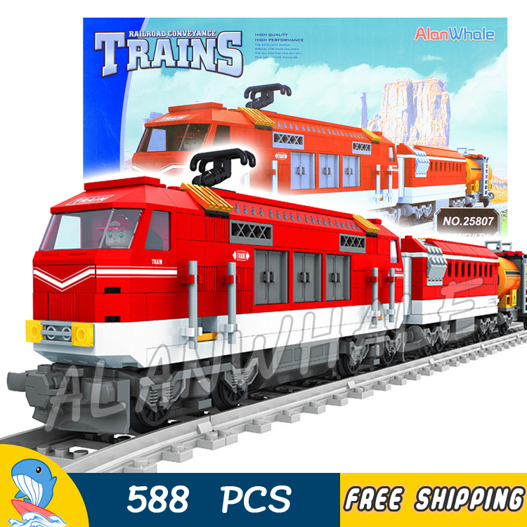 588pcs Train Creator Classical Cargo Trains Red Locomotive 25807 Model Building Blocks Bricks Railway Toys Compatible With lego power trains набор с краном 48627